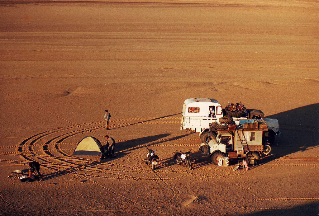 Camping in the middle of the Sahara desert back in the early 70s.