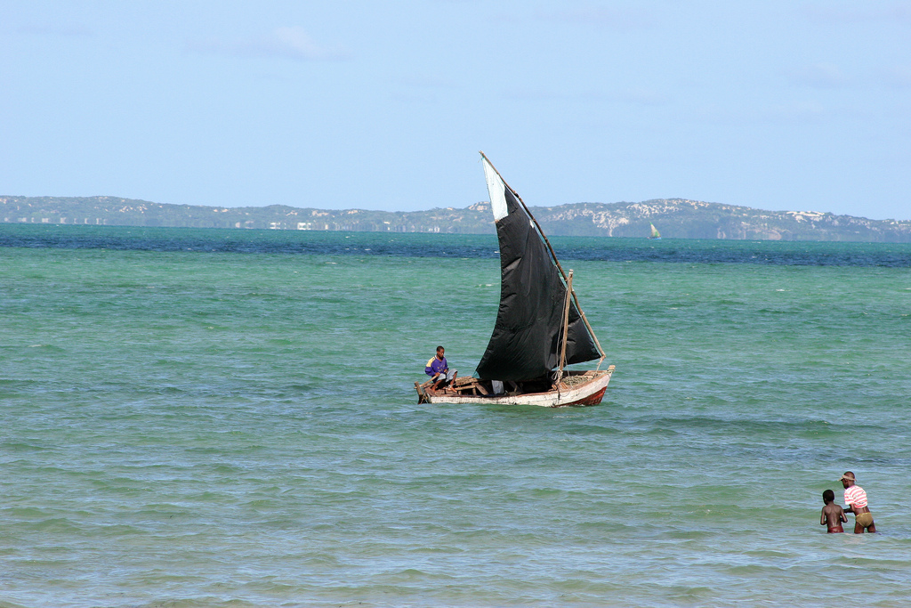 Sailing along Bazaruto Island in Mozambique