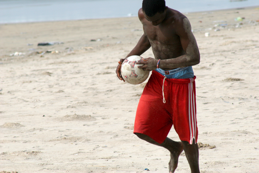 Playing on Takoradi beach in Ghana.