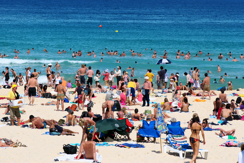 Crowded Bondi Beach in Sydney, Australia.