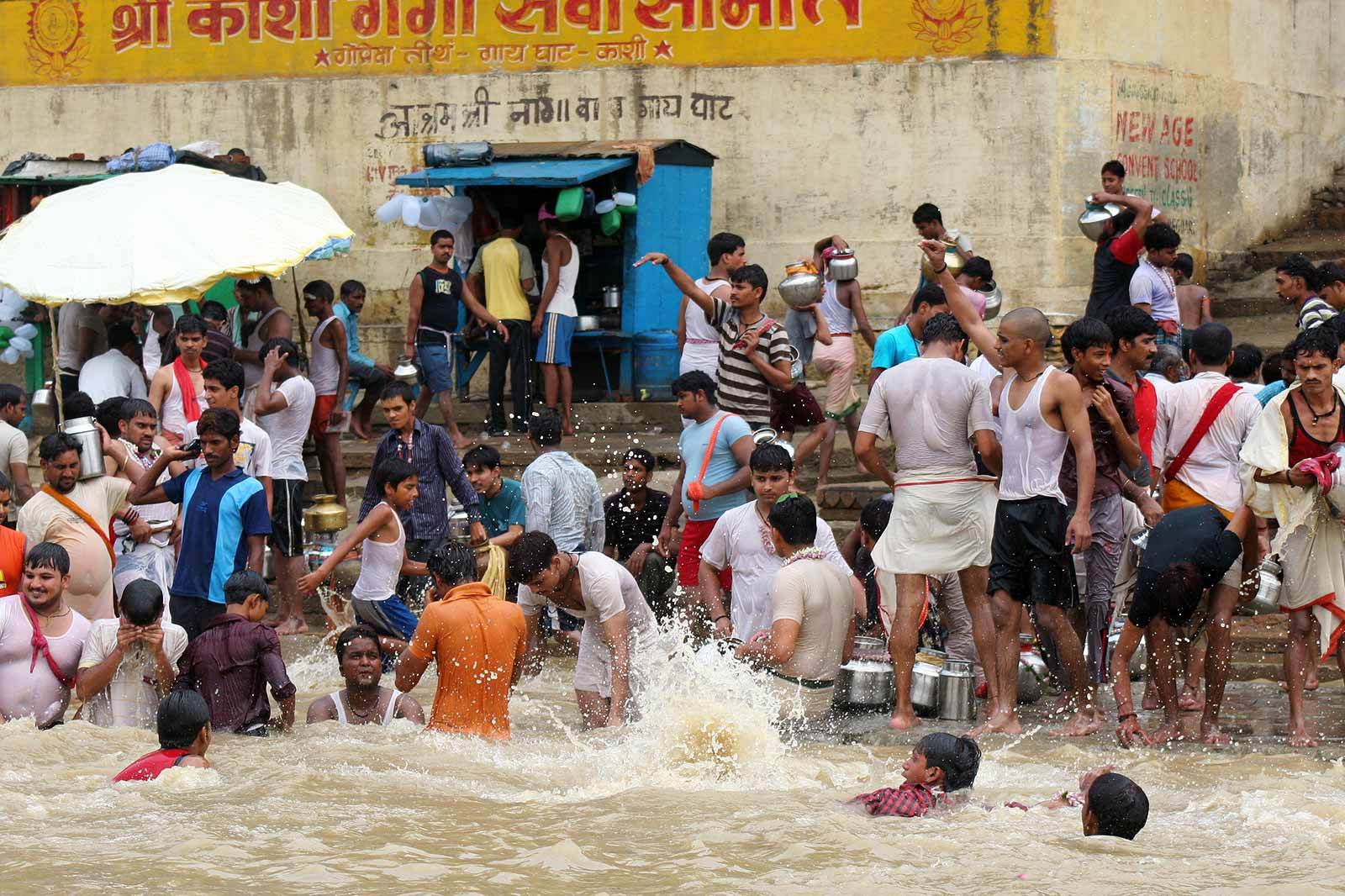 The swiftly moving Ganges in Varanasi, especially in its upper reaches, where a bather has to grasp an anchored chain in order to not be carried away, is considered especially purifying.