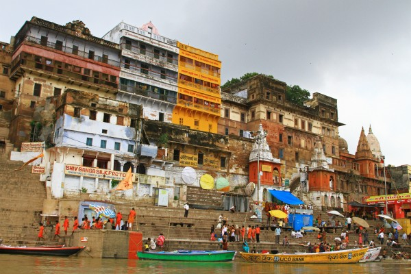 The view from a boat floating along the Ganges river in Varanasi, India.