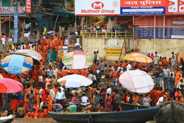 The Ghats in Varanasi are always full with people.