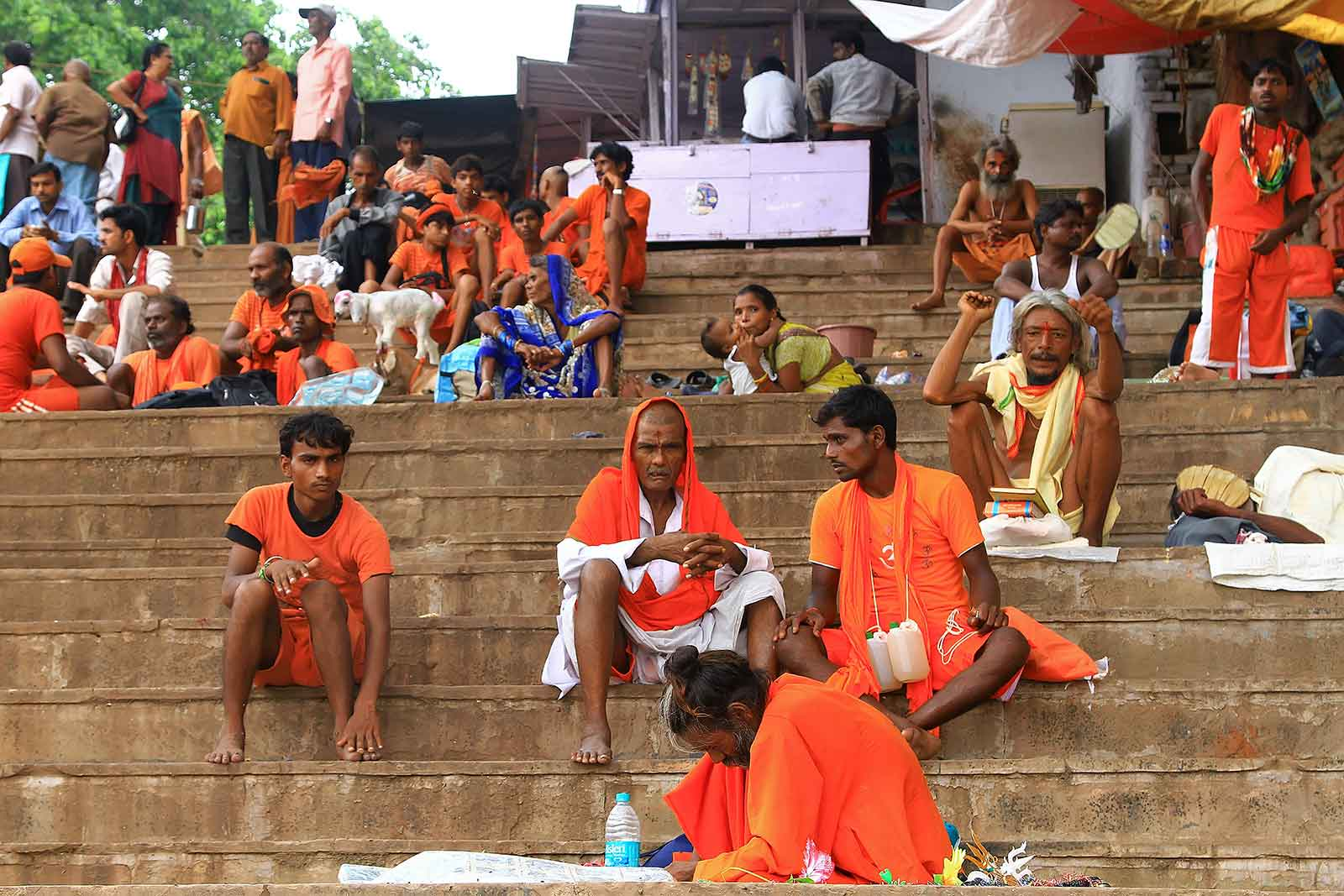 The Ghats in Varanasi are always full with people, bathing, washing or praying.