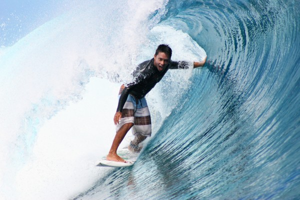 Pro-surfer Dennis Tihara knows how to tame these waves.