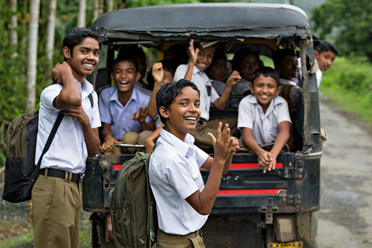 Kids on their way to school in Diglipur on the Andaman Islands.