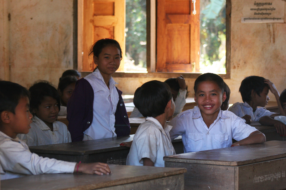 Cambodian school uniforms.