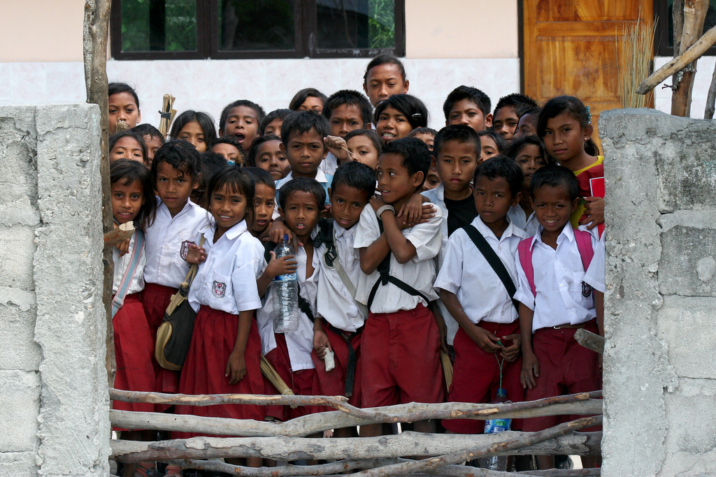 Kids in school uniform in Timor, Indonesia.