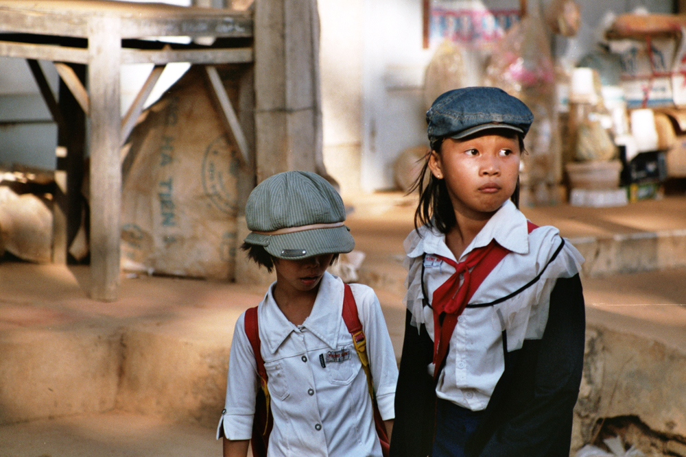 Girls in school uniform in Vietnam.