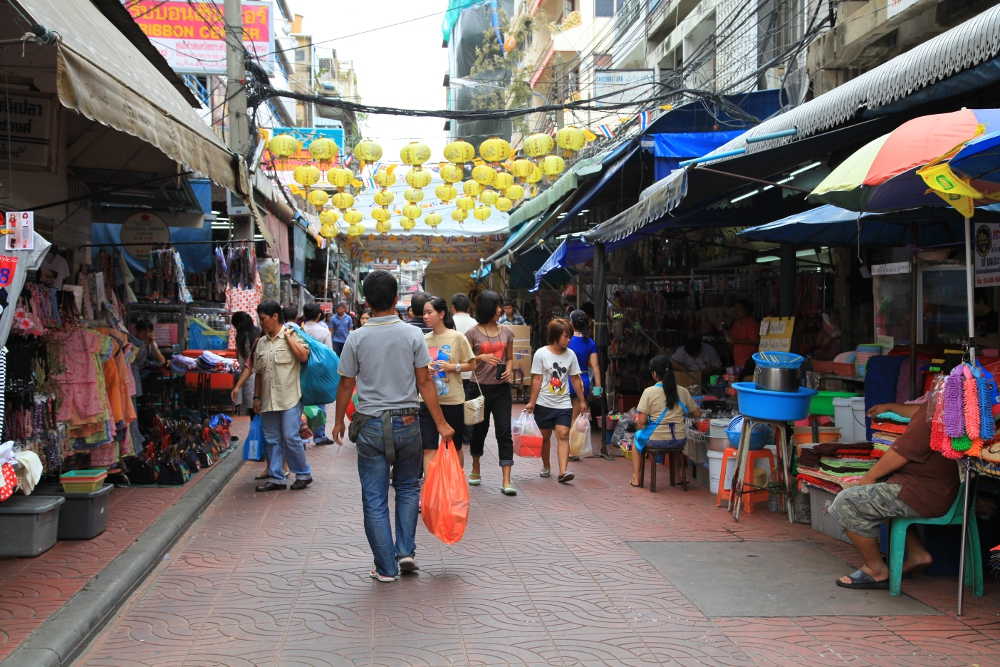 Walking along in Bangkok's Chinatown.