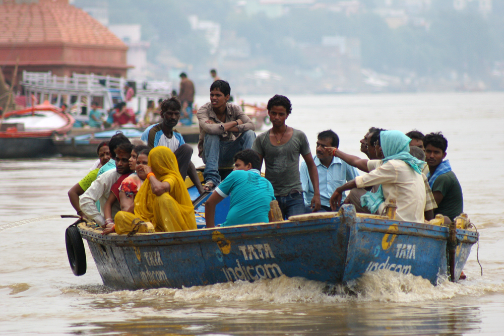 Fully loaded boats on the Ganges.