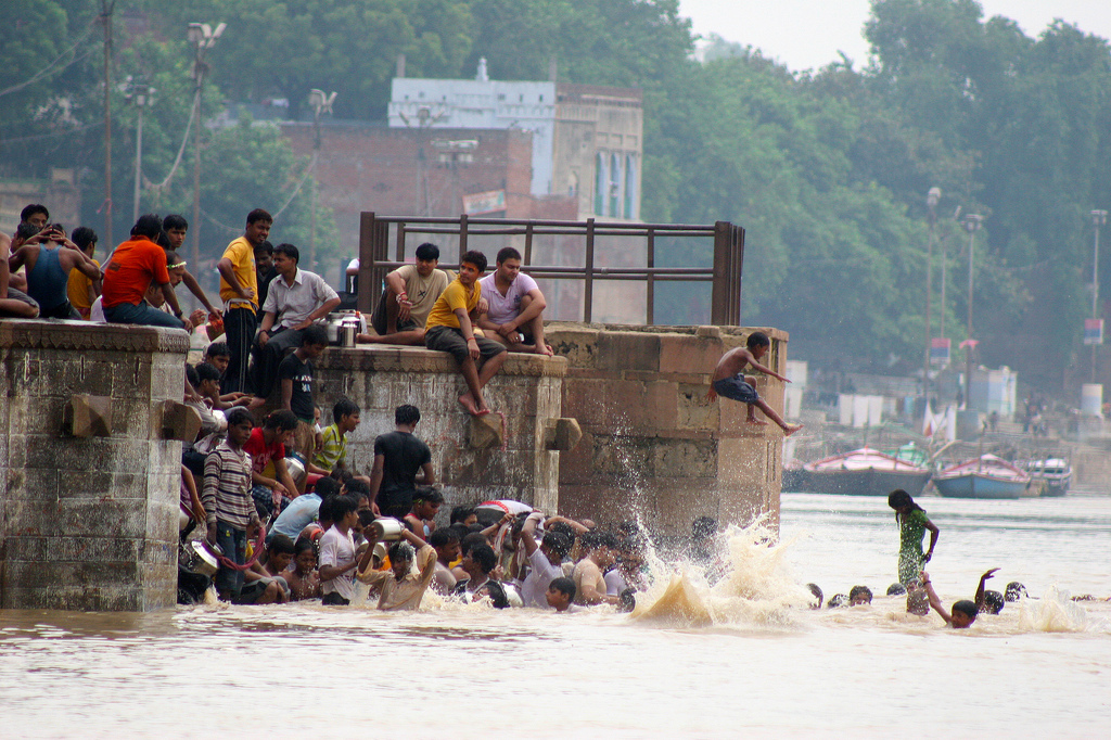 Going for a swim in the Ganges river.