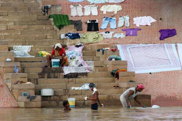 Laundry work on the Ghats in Varanasi.