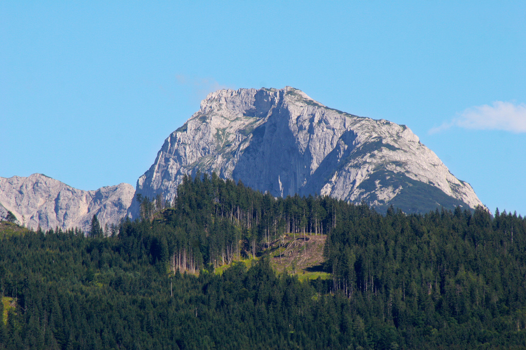 A mountain rising out of the forest in the Salzkammergut around Grundlsee.