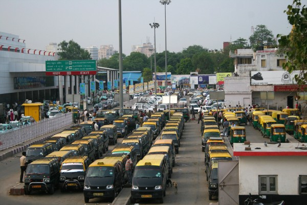 Next to the train station in New Delhi you'll find Taxis & Bemos.