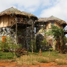 """Tree house"" hotel in Sen Monorom, Cambodia."