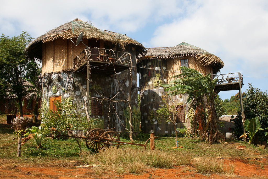 """Tree house"" hotel in Sen Monorom, Cambodia is a unique eco-tourism country bungalow resort."