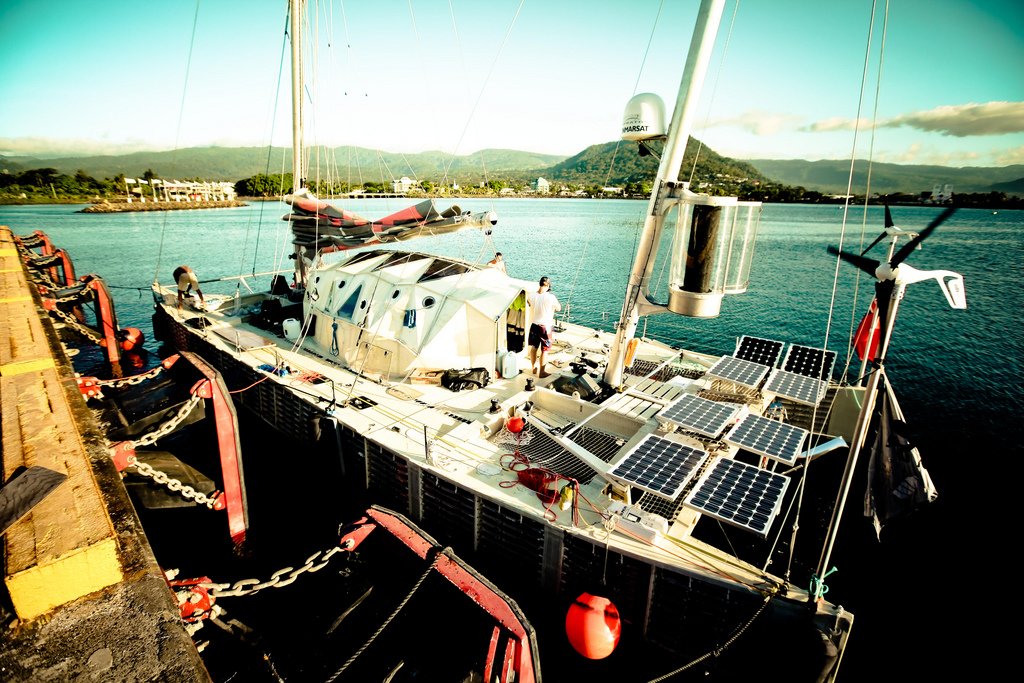 The Plastiki - a catamaran made out of plastic bottles.