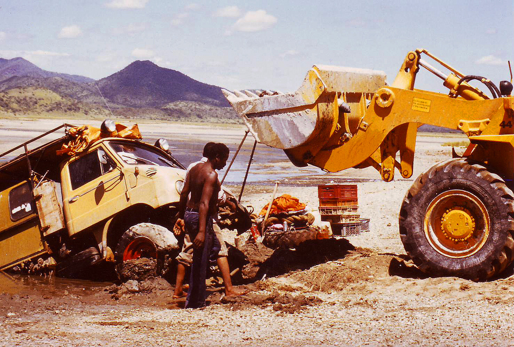 Being stuck with our truck at Lake Magadi in Kenya.