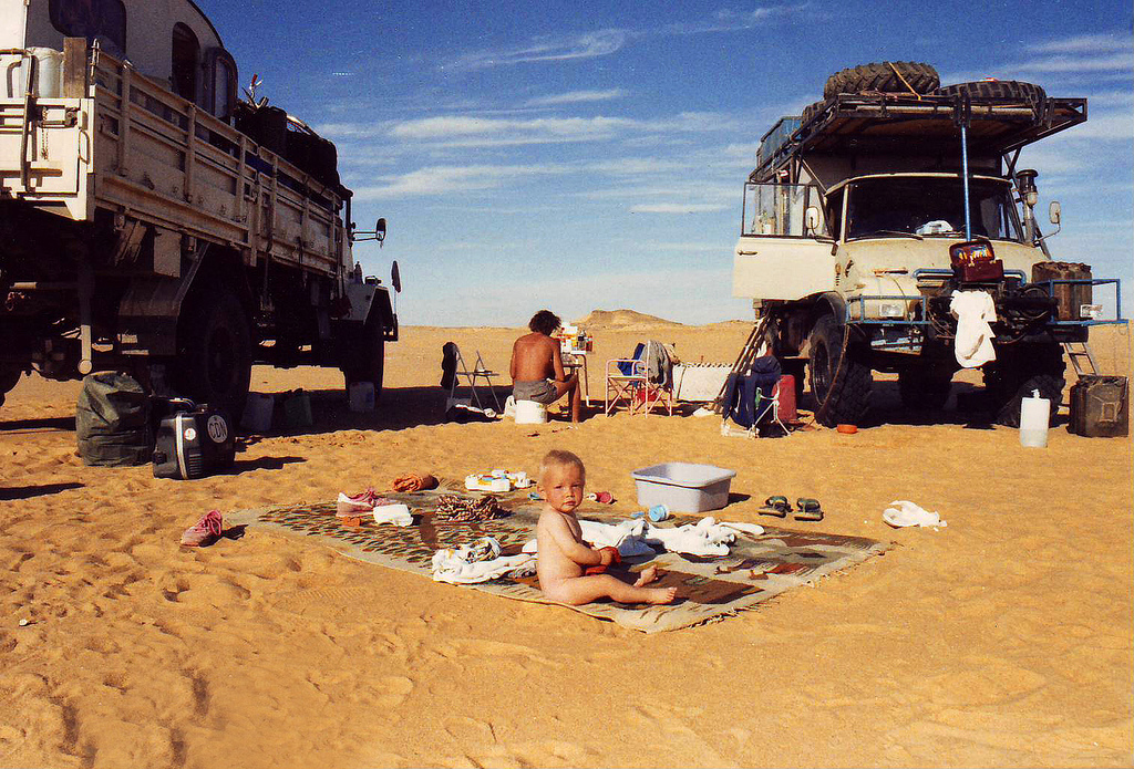 Camping in the middle of the Sahara desert in the Sudan.