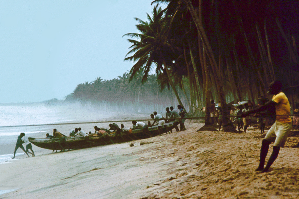 Fishermen pulling in the catch near Lome in Togo.