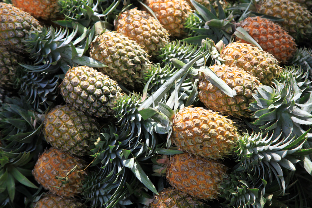 Fresh Pineapples at a market in Bangkok.