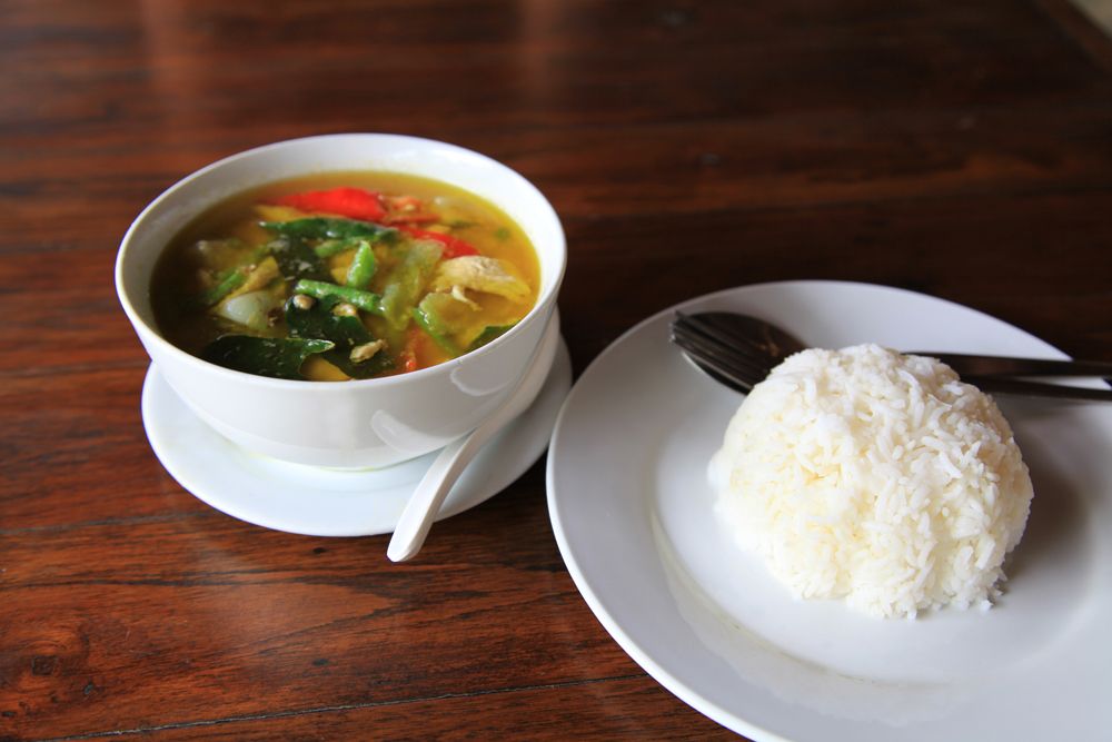 Thai green curry with rice.