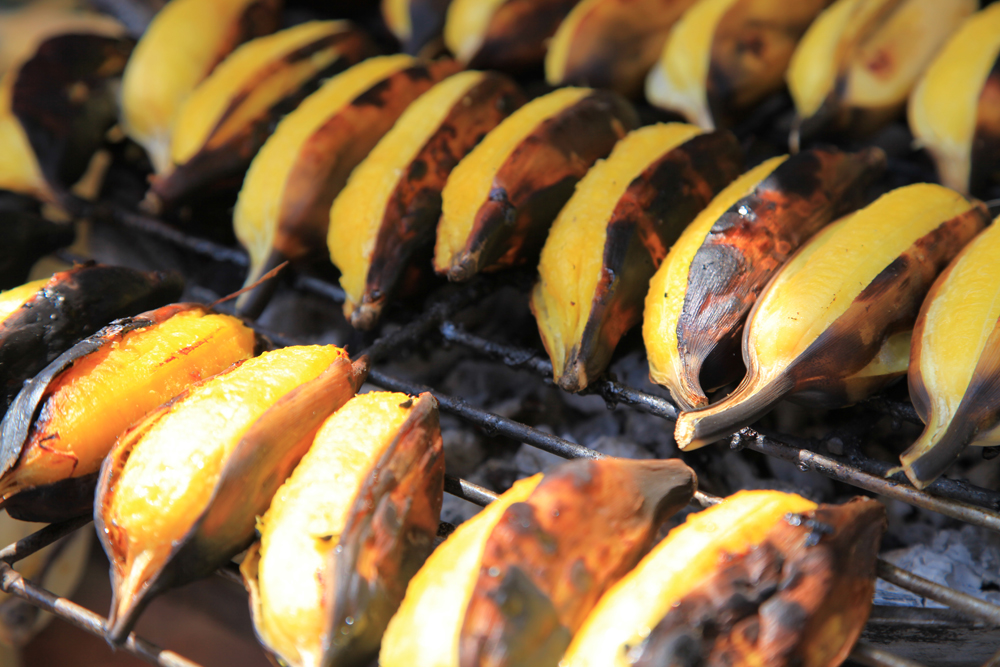 Grilled bananas at a market in Bangkok.