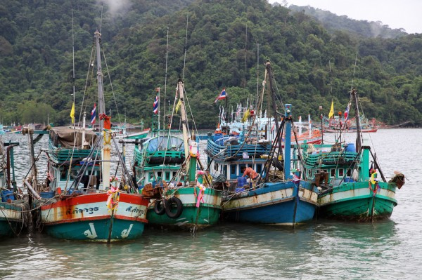 Fishing boats in the village Ban Aoyai on Koh Kood island.