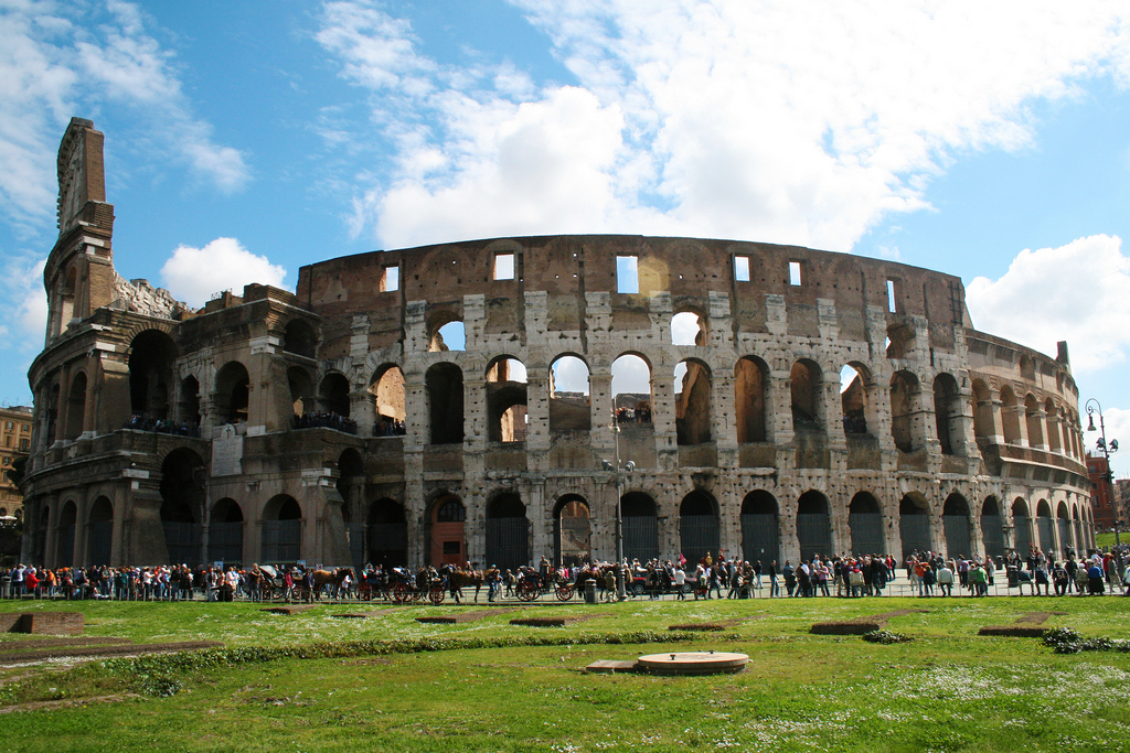 The Colosseum in Rome was the largest amphitheatre of the Roman Empire, and is considered one of the greatest works of Roman architecture and engineering.