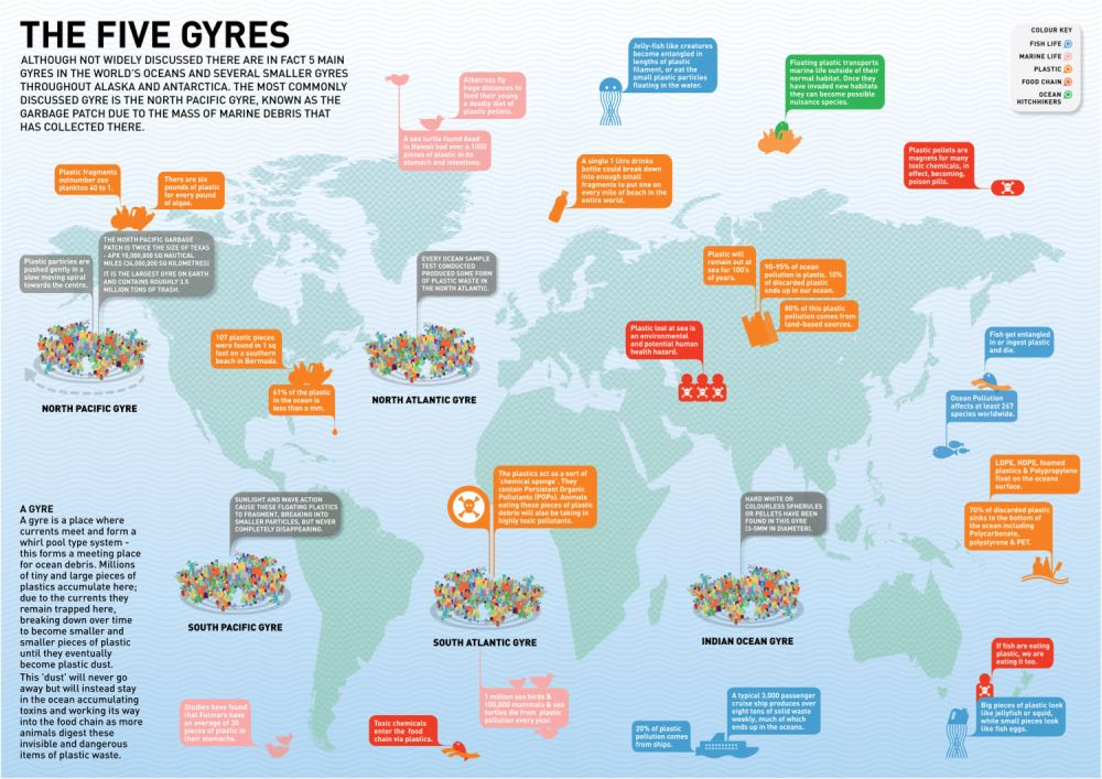 Map of the worldwide garbage vortexes. Credit of illustration: Plastiki.com