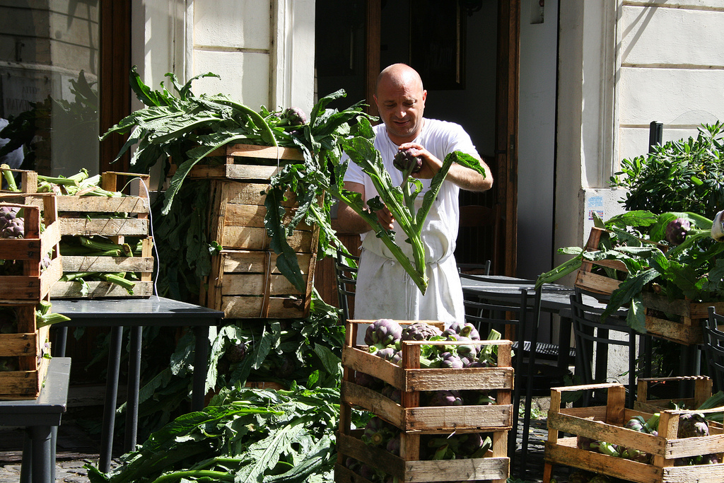 Preparing artichokes in the Jewish quarter of Rome.