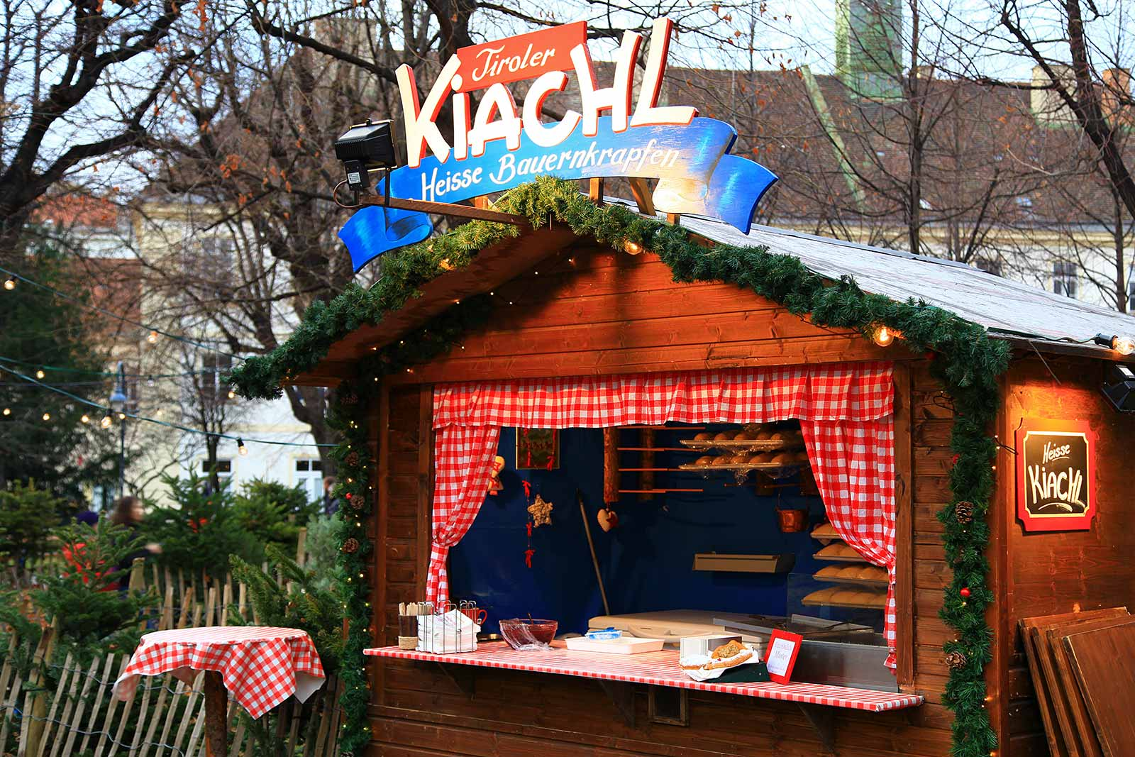 A typical food hut at a Viennese Christmas market.