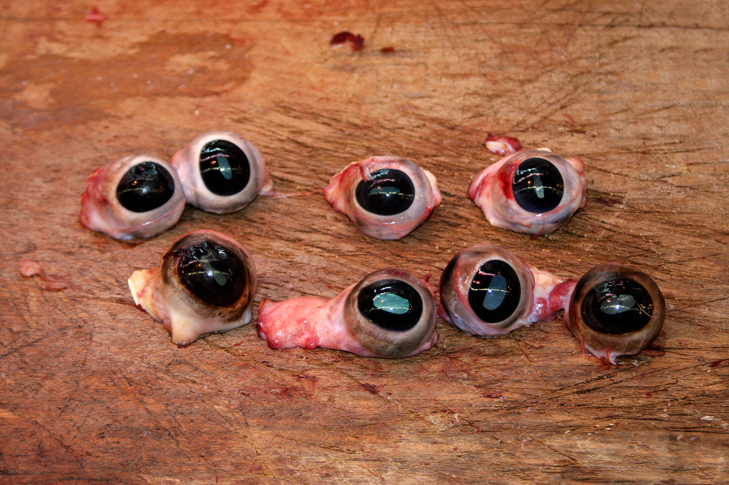 Cow's eyes at a market in Hong Kong.