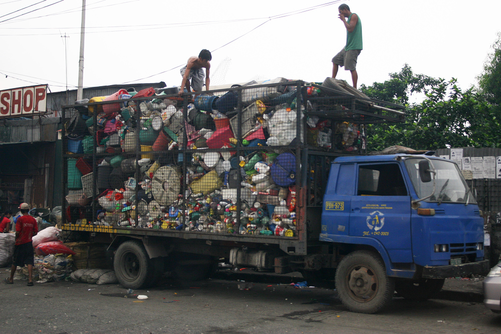 One of the few garbage trucks in Manila.