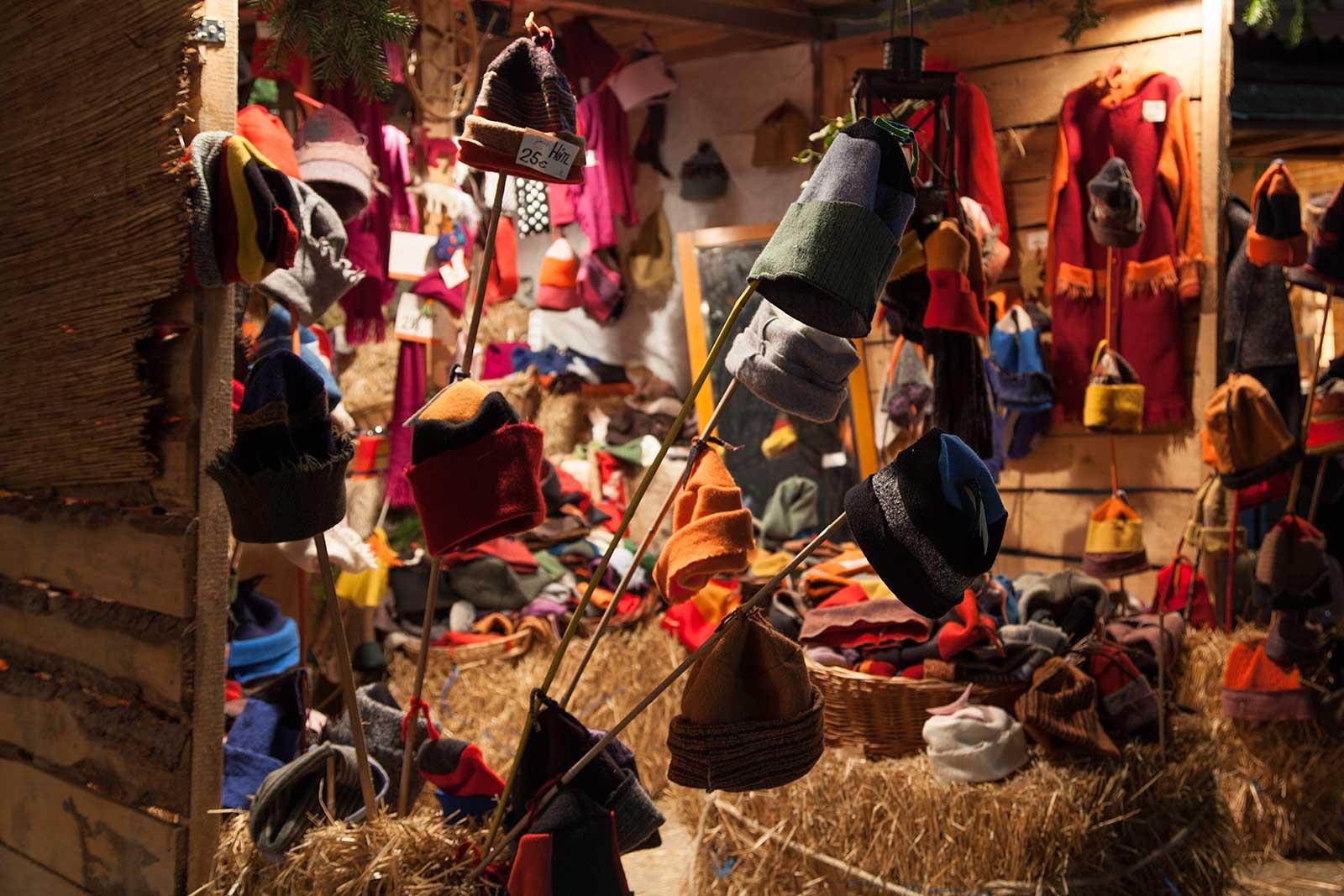 Hat stall at the Christmas market around the Karlsplatz.