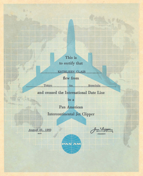 You flew with Pan Am airlines. © Pan Am Historical Foundation.