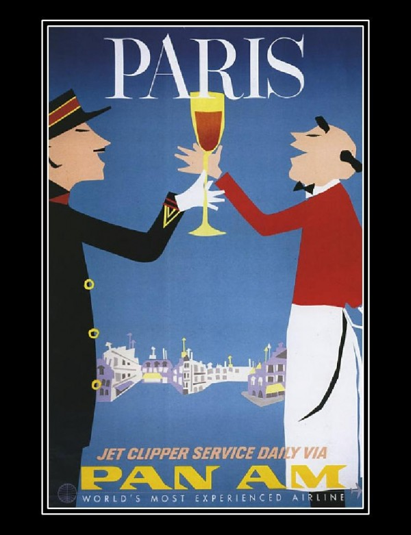 "Pan Am ""Paris"" retro poster."