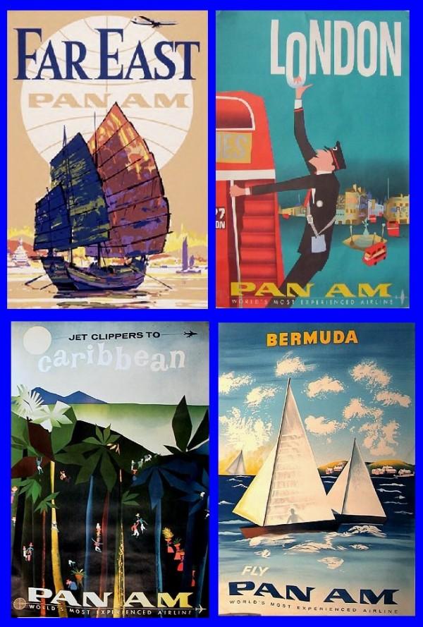 Retro Pan Am destination posters.