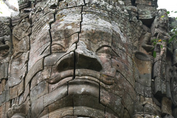 One of the faces at Bayon temple.