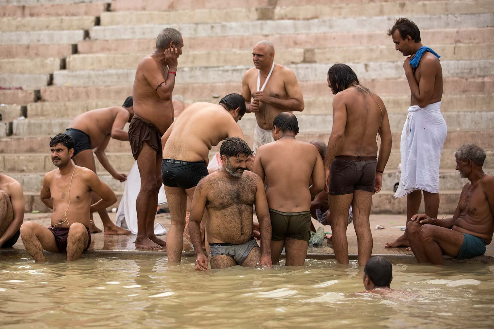 Thousands of people bathe in the Ganges holy water every day.