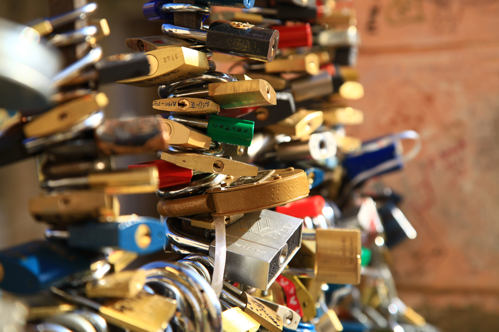 Lover's locks near the John Lennon wall in Prague, Czech Republic.