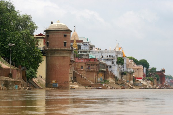 The view of Varanasi while on a boat trip on the Ganges river.