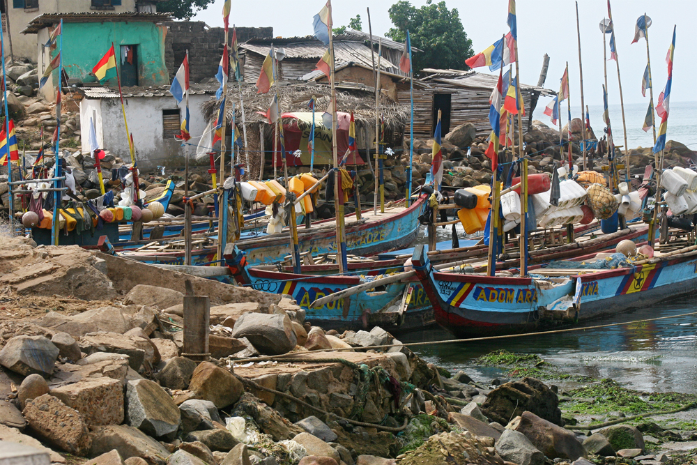 The fishing boats near Elmina Castle in Ghana.