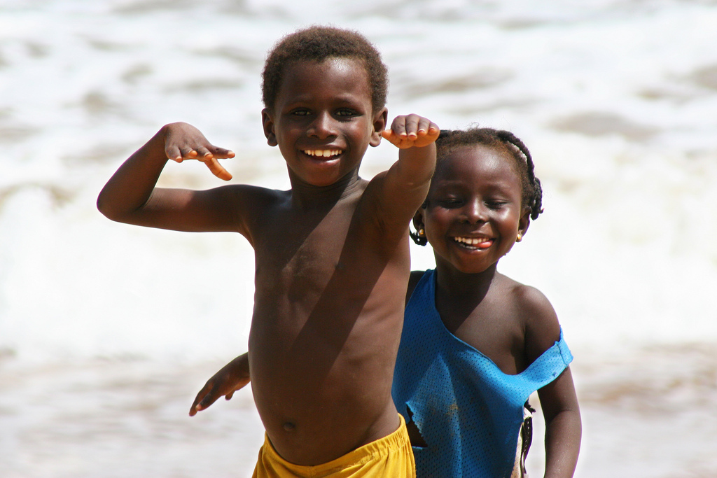 Kids playing on Takoradi beach, Ghana.