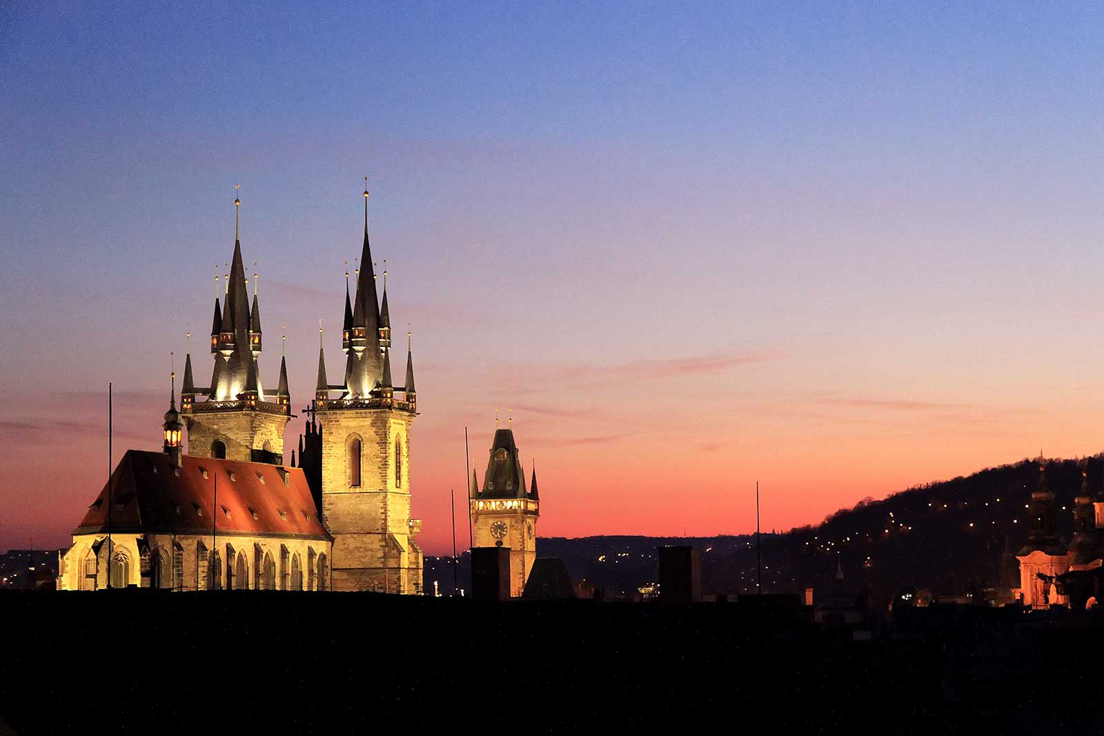 Tyn Church at night in Prague, Czech Republic.