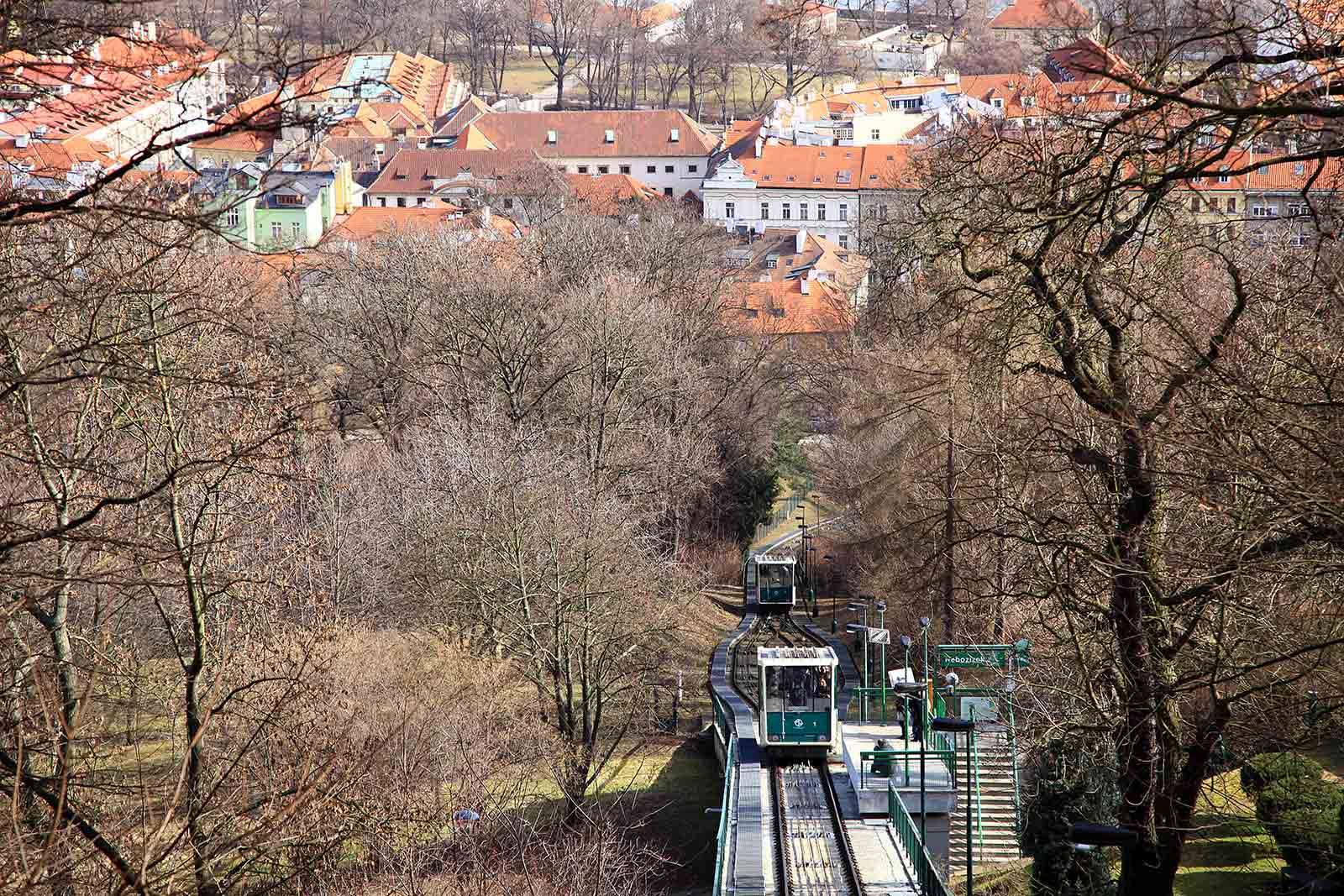 Railway up to Petrin in Prague, Czech Republic.