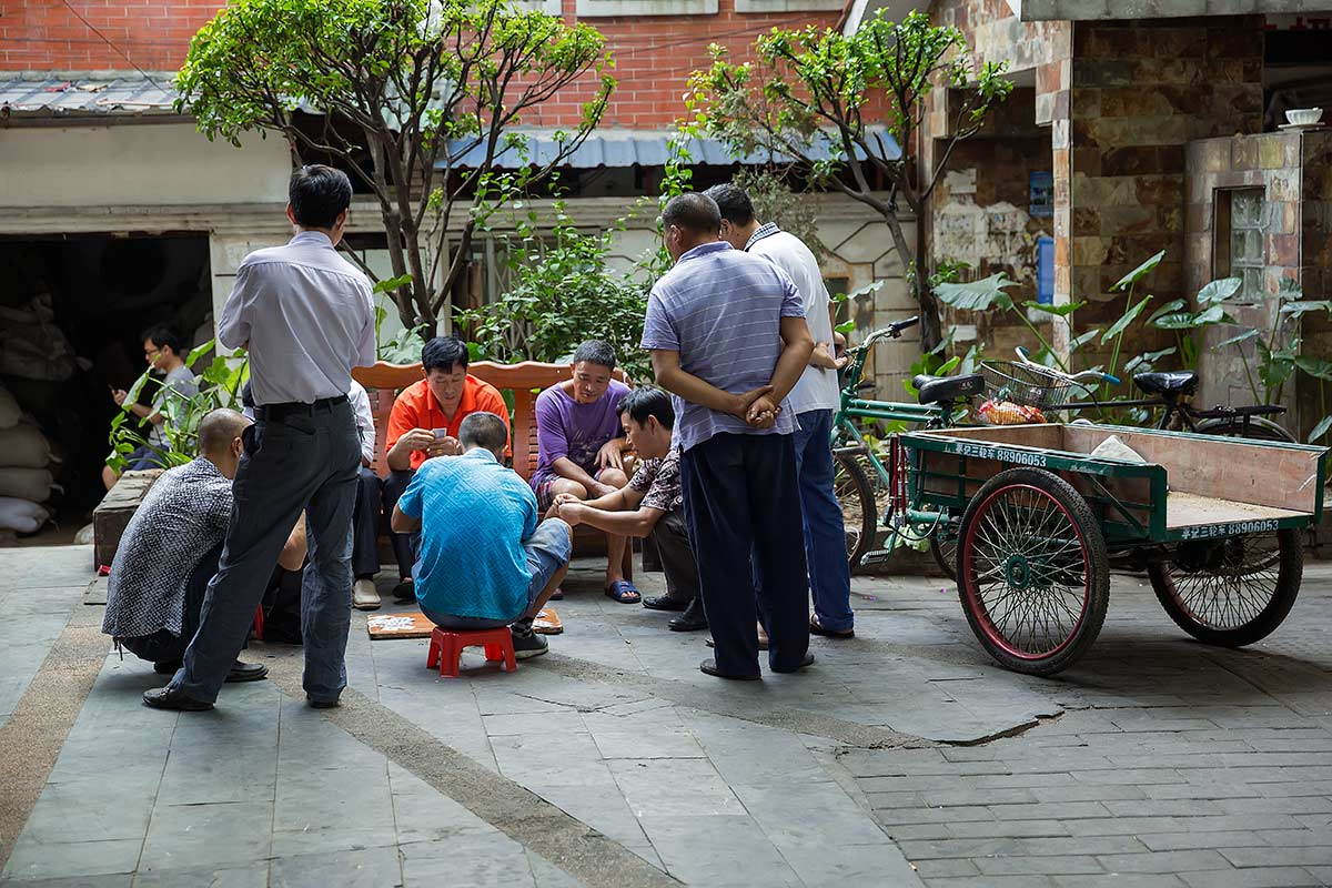A game of Mahjong being played in the streets of Guangzhou.