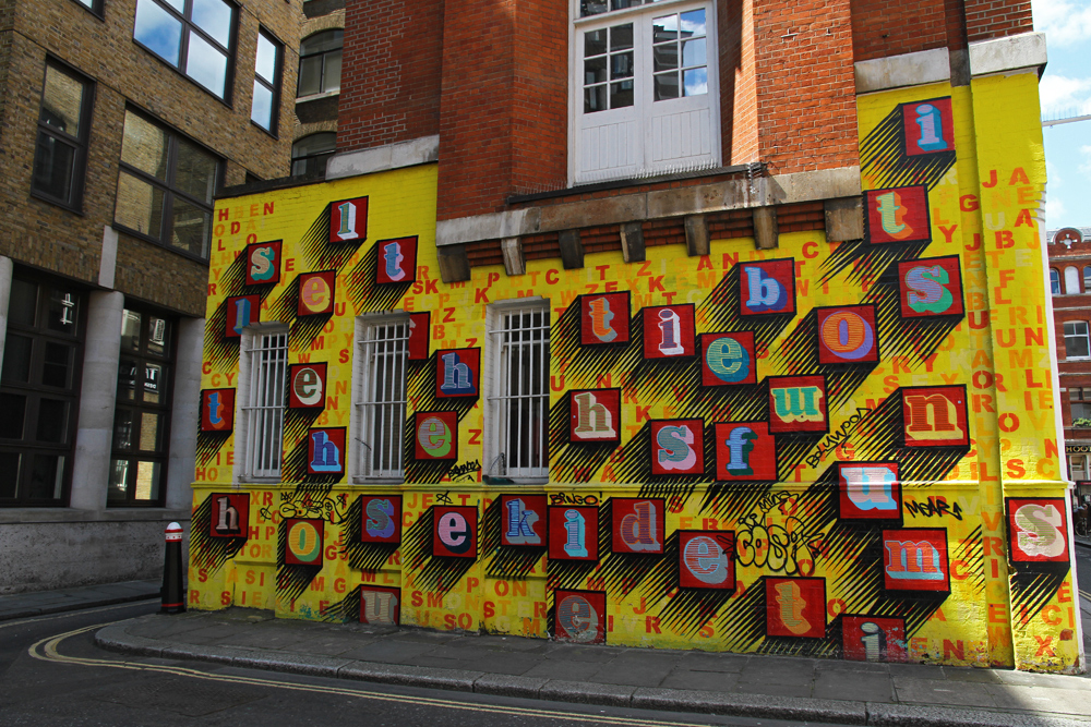 A colorful ABC wall in London.
