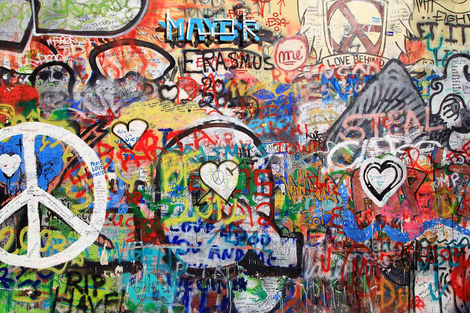 John Lennon wall in Prague, Czech Republic.
